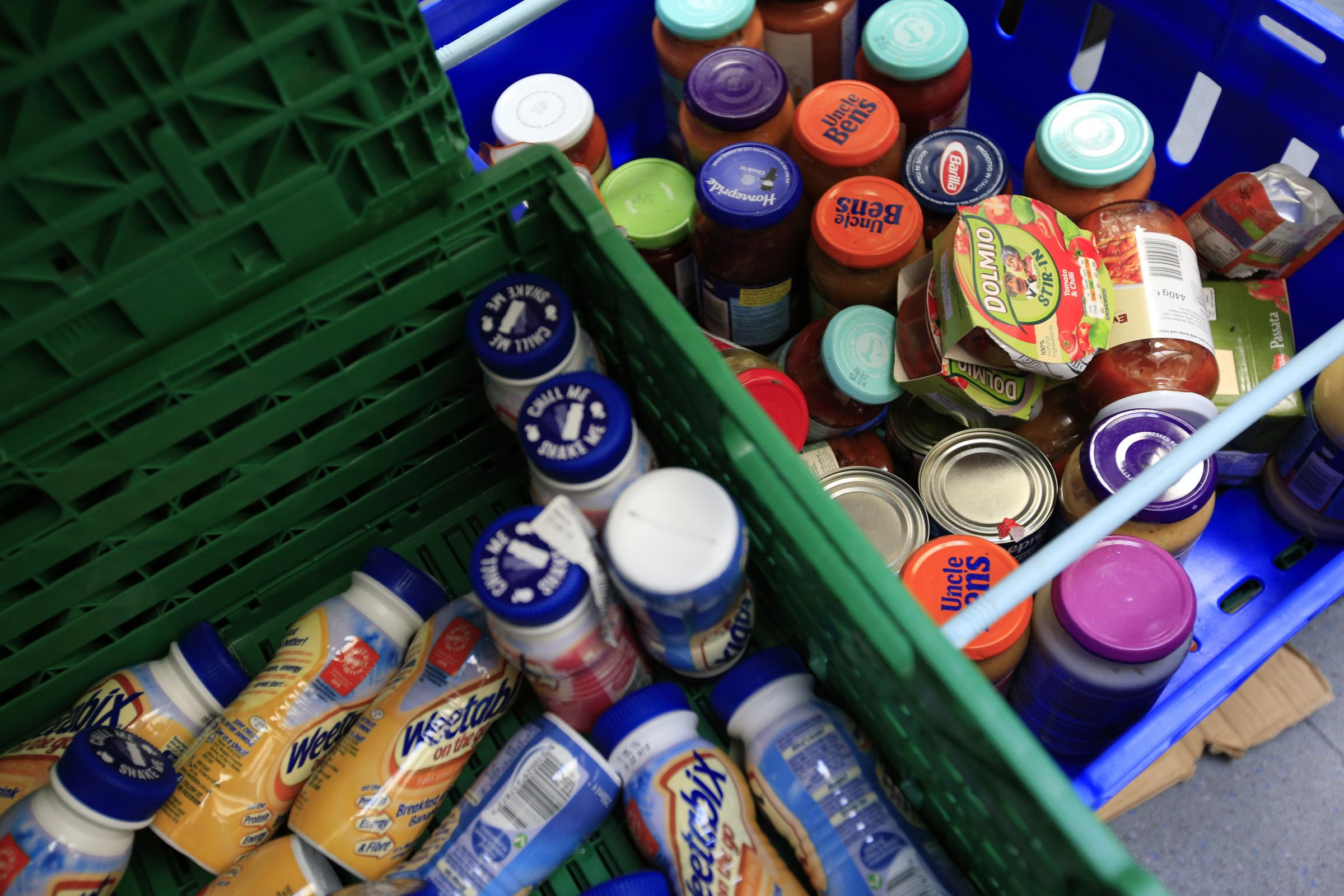 Stocks of food at the Trussell Trust Brent Foodbank, Neasden, London..