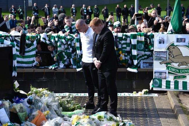 Celtic manager Neil Lennon and captain Scott Brown lay a wreath at the Billy McNeill statue