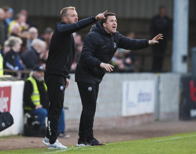 23/04/19 LADBROKES CHAMPIONSHIP AYR UNITED v PARTICK THISTLE (0-1) SOMERSET PARK - AYR Partick Thistle manager Gary Caldwell (R) with assistant Brian Kerr on the touchline