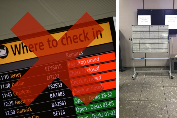 Glasgow Airport flight information boards crash - and times displayed on whiteboard