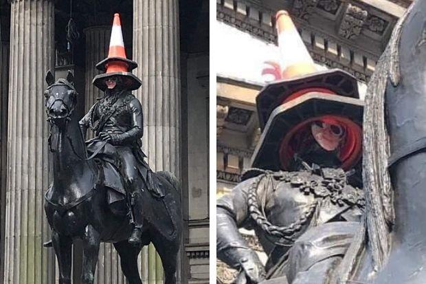 Singer Lewis Capaldi's face stuck onto Duke of Wellington statue