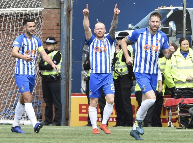 Kilmarnock's Chris Burke (centre) celebrates after scoring the first goal during the Ladbrokes Scottish Premiership match