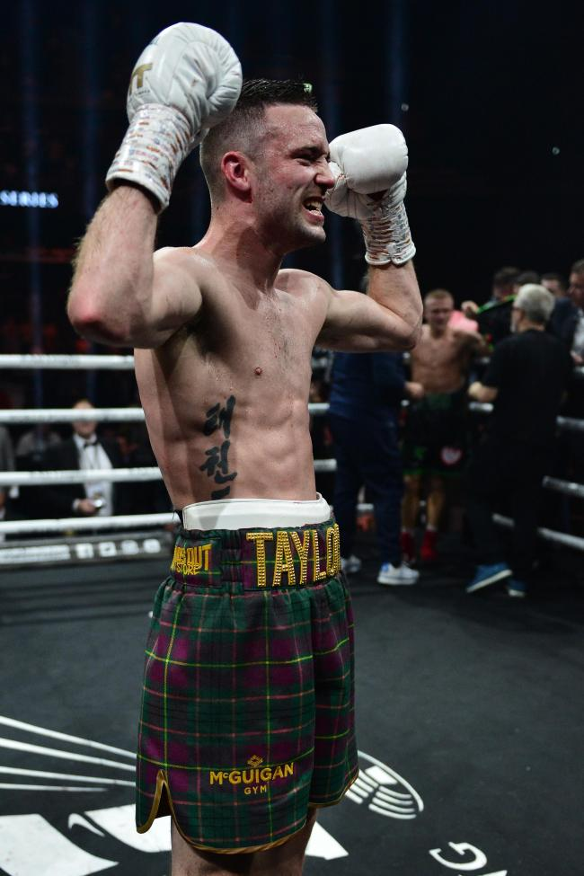 GLASGOW, SCOTLAND - MAY 18: Josh Taylor of Scotland celebrates as he beats Ivan Baranchyk of Russia on points during the WBSS Super Lightweight Semi Final IBF World Championship fight at the Muhammad Ali Trophy Semi-Finals - World Boxing Super Series Figh