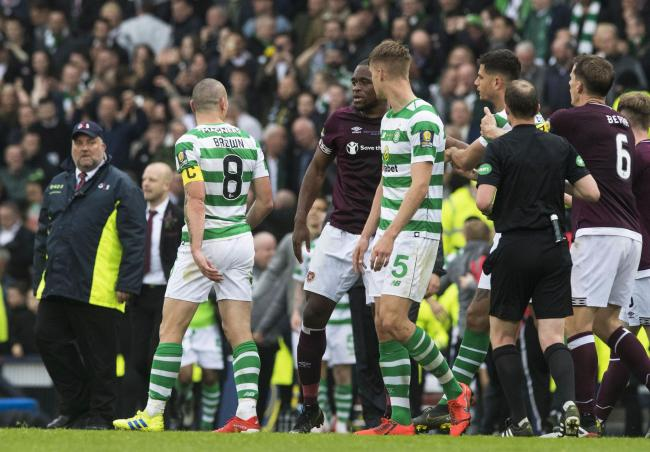 Scott Brown confronts Uche Ikpeazu after the final whistle of the Scottish Cup final.