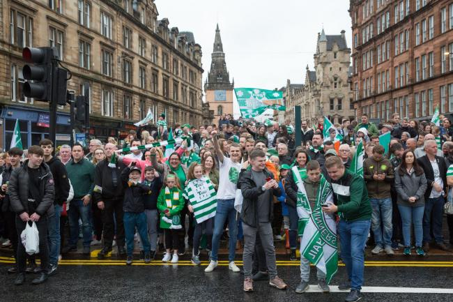 Celtic fans waiting for the team bus at Glasgow Cross after the Scottish Cup Final 2019  Picture: Robert Perry