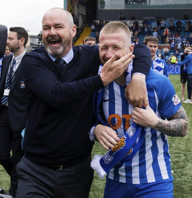 Steve Clarke and Alan Power are full of joy at being awarded man and player of the year by Neil Cameron