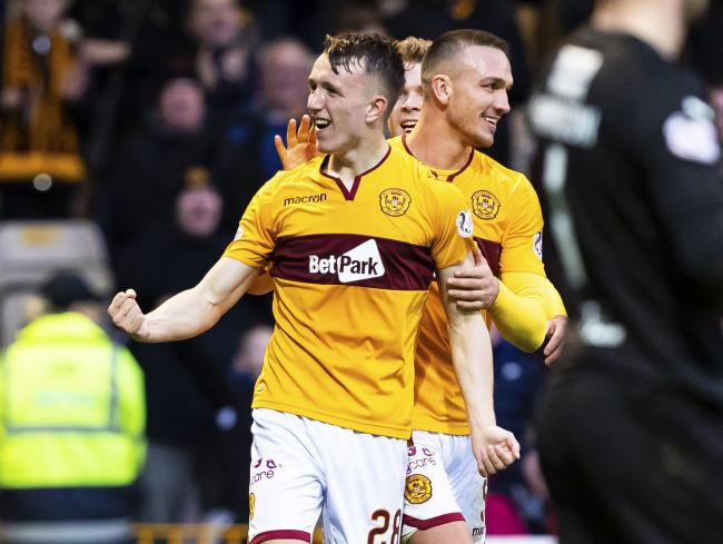 David Turnbull celebrates scoring for Motherwell last season.