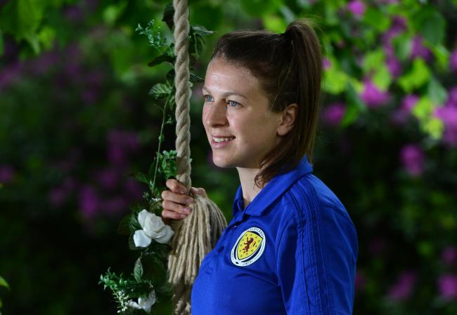 GLASGOW, SCOTLAND - JUNE 04: Lizzie Arnot of Scotland poses in the grounds of the Norton House Hotel after the Scotland Women's National Team Training Session at Oriam Scotland (Scotland's National Sports Performance Centre) on June 4, 2019 in Gla