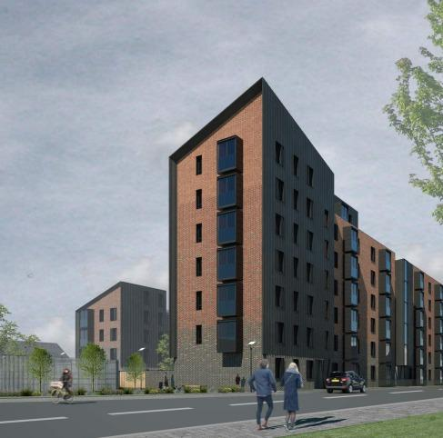 Artist's impression of a housing scheme approved in Calton, Glasgow