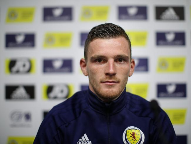 GLASGOW, SCOTLAND - JUNE 07: Scotland captain Andy Robertson is seen during a press conference ahead of Scotland's European Qualifier against Cyprus at Hampden Park  on June 07, 2019 in Glasgow, Scotland. (Photo by Ian MacNicol/Getty Images).