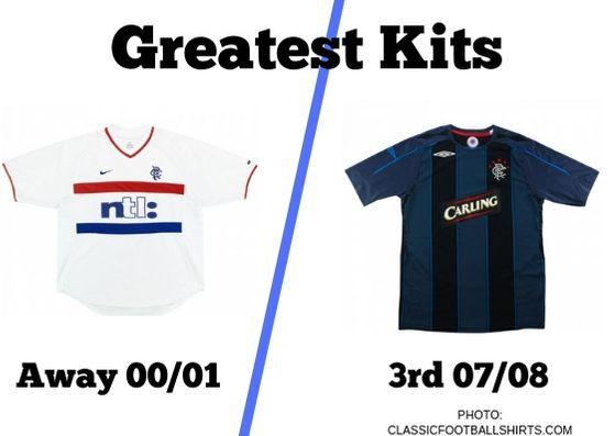 IN today's Greatest Kits vote, we're ptting Rangers' away strip from the 2000/01 season up against the 3rd kit from 2007/08.