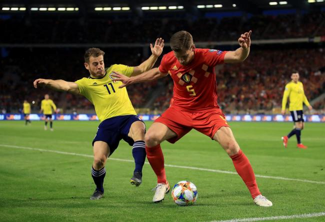 Scotland's Ryan Fraser (left) and Belgium's Jan Vertonghen battle for the ball during the UEFA Euro 2020 Qualifying, Group I match at the King Baudouin Stadium