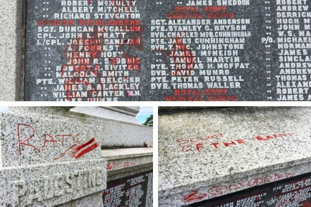 Motherwell war memorial vandalised as council blasts perpetrators