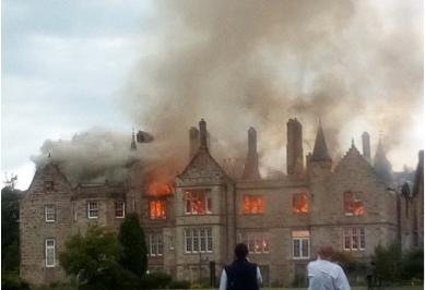Huge fire rips through derelict hotel near Scots golf course