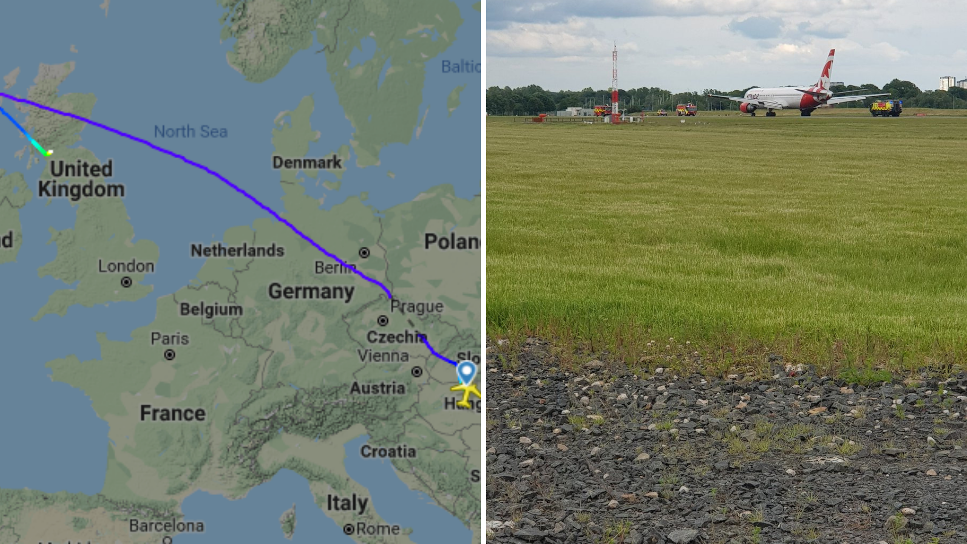 Budapest to Toronto flight forced to land at Glasgow Airport after 'onboard emergency'