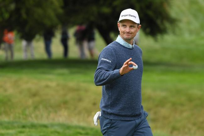 PEBBLE BEACH, CALIFORNIA - JUNE 15: Justin Rose of England waves on the 16th green during the third round of the 2019 U.S. Open at Pebble Beach Golf Links on June 15, 2019 in Pebble Beach, California. (Photo by Harry How/Getty Images).