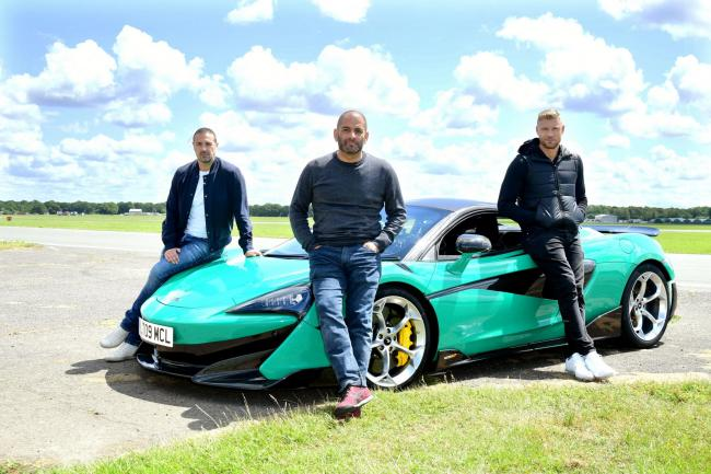 Chris Harris with Paddy McGuinness (left) and Freddie Flintoff (right)