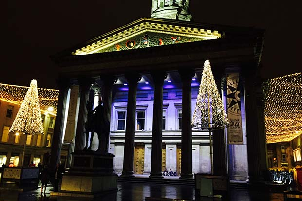 Evening Times Reader Natalie Ward  took this dazzling Night-time view of the Christmas Lights surrounding the Glasgow Museum of Modern Art