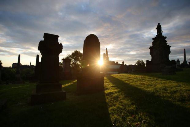 Evening Times photographer Colin Templeton took this picture of the sun setting on the Necropolis