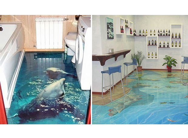 In pictures trippy 3d bathroom floors evening times for 3d flooring uk