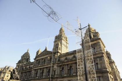 Work has started on the Christmas lights in George Square