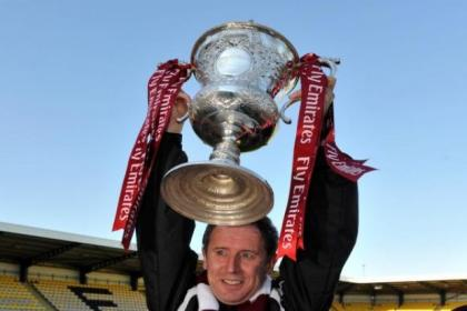 Shotts boss Tony McInally with the Emirates Cup his team won last season