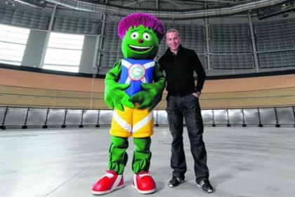 Sir Chris Hoy and mascot Clyde at Glasgow velodrome named in cyclist's honour