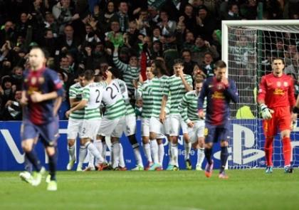 Victor Wanyama and team-mates celebrate the first goal