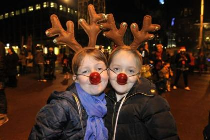 Carly Drever (left) and Ellie Hendry got into the festive mood for the occasion