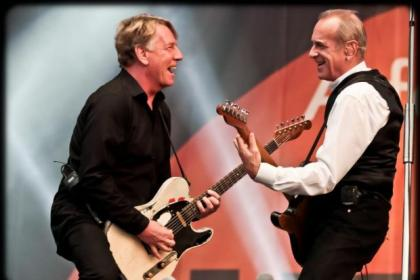 Status Quo's Francis Rossi with Rick Parfitt this year, and below in the 1970s