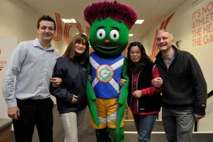 n Volunteers Gary Goldie, Hilary MacGurie, Mascot Clyde, Mary Anna Law and Jamie Cuthbertson                  Picture: Nick Ponty