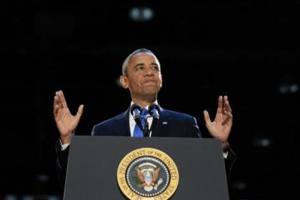 A delighted Obama addressed his supporters