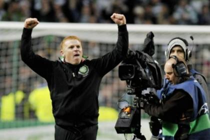 Boss Neil Lennon celebrates after Celtic's victory