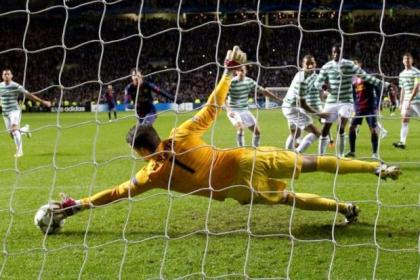 Fraser Forster makes another great save against Barcelona last night