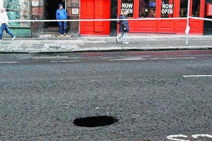 The hole appeared in the middle of Sauchiehall Street