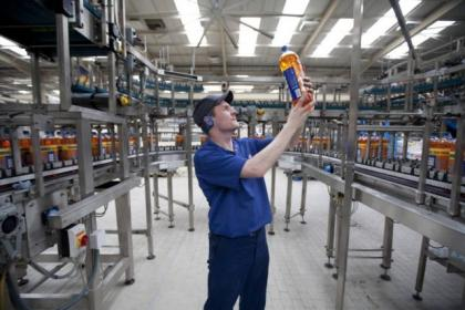 The Irm Bru production line in Cumbernauld