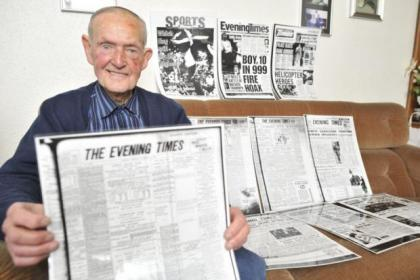 Robert with his collection of Evening Times' pages