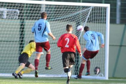 Shotts' Alan McKenzie, right, nods home from close range to open the scoring on Saturday. Picture: Bill Fleming