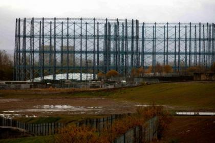 The gasometers have become landmark Glasgow structures