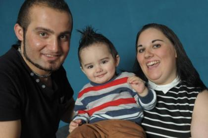Little Aaron Kawani with his proud parents Sam and Gemma