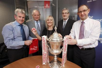 Evening Times' Jim O'Donnell, SJFA assistant secretary Joe Black, Emirates Scotland sales manager Denise Holmes, SJFA secretary Tom Johnston and ET assistant sports editor Cameron Melville. Picture: Martin Shields