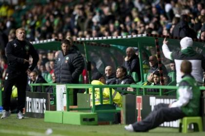 Neil Lennon has words with a Celtic fan at Parkhead on Saturday