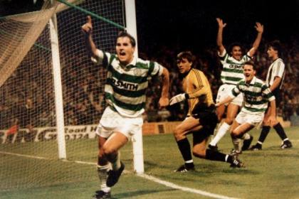 Jackie celebrates his fourth and Celtic's fifth goal against Partizan Belgrade at Parkhead in 1989