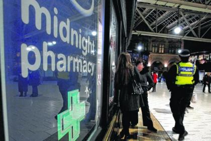 The pharmacy in Central Station is a key pick-up point for recovering addicts