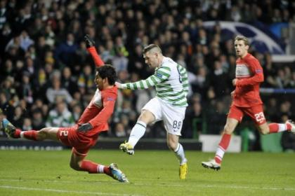 Gary Hooper unleashes a 20-yard drive to put Celtic into a 1-0 lead against Spartak