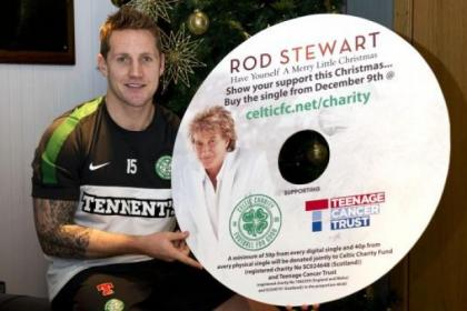Kris Commons helps promote Rod Stewart's charity Christmas single