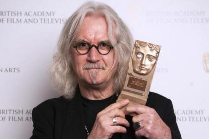 Billy at the Old Fruitmarket with his Bafta award for Outstanding Contribution To Television and Film