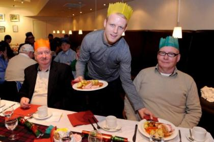 Steven Naismith served lunch for the homeless at Renfield St Stephen's Church. Picture: Jim Galloway