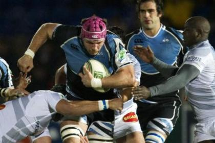 Glasgow Warriors' Tim Swinson, centre, forces his way through Castres defence during their 9-6 defeat last week