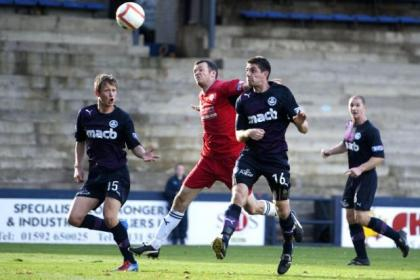 Kris Doolan, centre, headed home in September at Stark's Park to give Thistle a well-deserved point against Raith Rovers